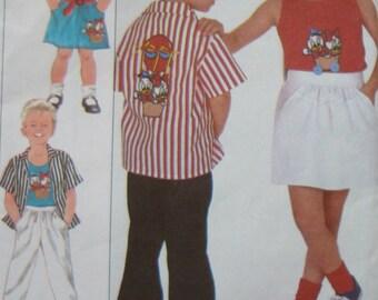 Shirt, Tank Top, Skirt And Pants Sewing Pattern with Walt Disney Transfer/ Simplicity 8525 Child's Boys Girls Size 5/ Elastic Waist, Pocket