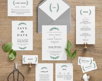 "Printable Wedding Invitation Suite ""Beatrix"" - Printable DIY Invite, Affordable Wedding Invitation"
