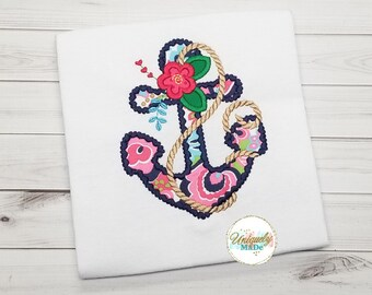 Girl Shirt - Anchor Shirt - Girls Personalized Shirt - Custom Shirt - Embroidered Shirt - Floral Anchor Shirt - Nautical Shirt
