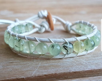 Leather bracelet with prehnite stones