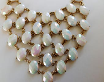 Stunning BIB Necklace Multi-Faceted Stones Pastel Colors Lovely Vintage Jewelry Statement Necklace
