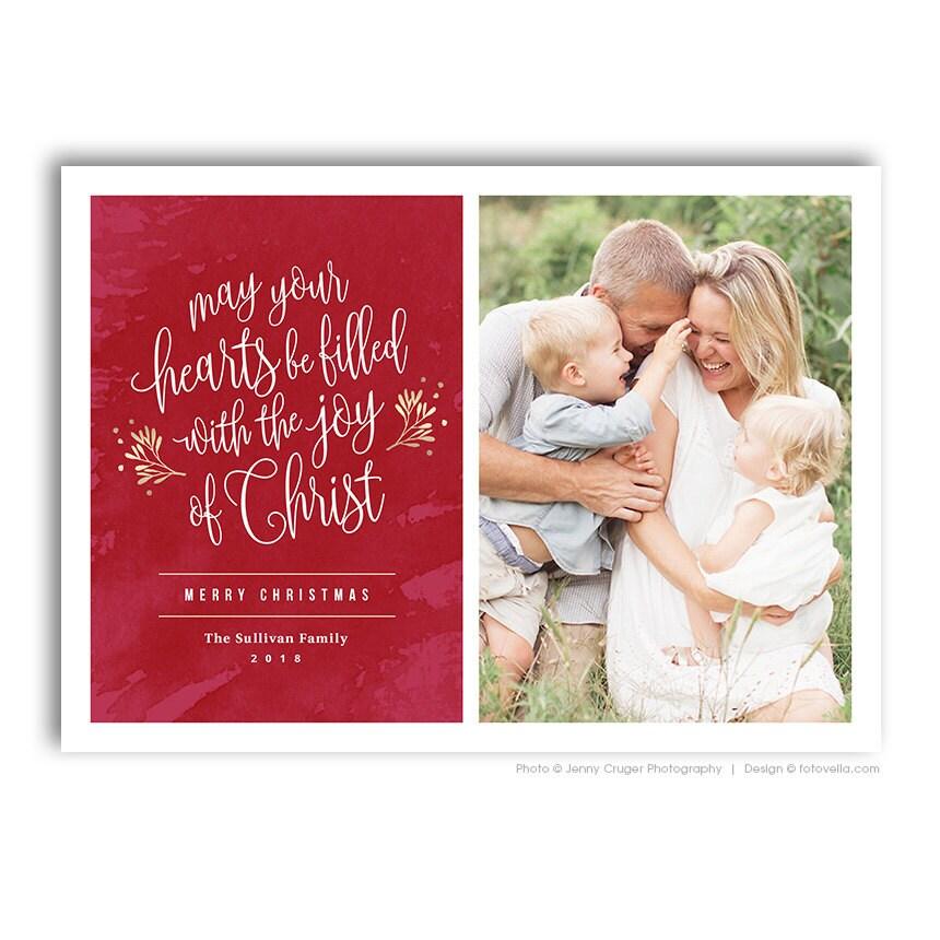 Christian Religious Christmas Photo Card Template For