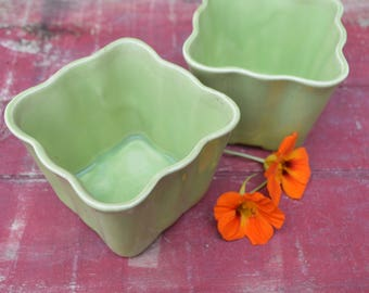 70's Square Indoor Planters - Set of Two - Cute Little Plant Pots with Scalloped Edges