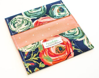 Checkbook Cover for Women | Handmade Fabric Wallet | Navy Blue Coral Floral