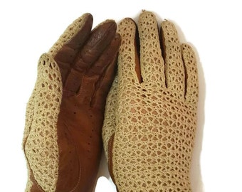 Leather Gloves Vintage Gloves Hand Crocheted Victorian Gloves Brown Leather Driving Gloves Edwardian Riding Gloves