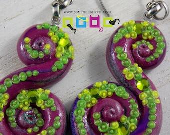Octopus Tentacle Inspired Dangle / Chandelier Earrings - Fairy Tale