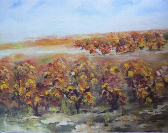 oil painting knife the beauty of autumn on a field of vines