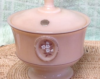 Vintage Westmoreland Floral Caramel Color Custard Covered Handpainted Glass Candy Dish Label