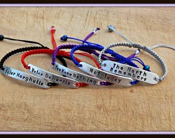 Valar Morghulis bracelet- Valar Dohaeris bracelet - Game of Thrones Quote bracelet - One bracelet