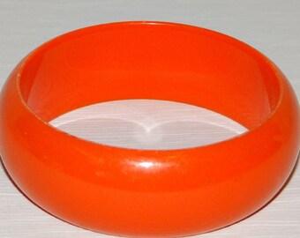 Vintage Bright Orange Bold Wide Bangle Bracelet Lucite