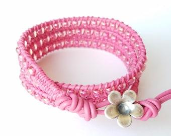 Hot Pink Bracelet, Pink Wrap Bracelet, Leather Wrap Bracelet, Triple Wrap, Beaded Bracelet, Pink Beads, Hot Pink Leather, 3x Wrap