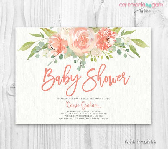 Floral Baby Shower Invitation Floral Boho Baby Shower