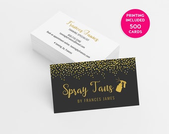 Stylish marketing professional printing by trendyprint on etsy gold sequins spray tanning business card design 500 printed business cards template personalized tanning logo spray tan salon mobile sticker colourmoves