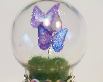 A Spring Day Dancing Butterflies Adjustable Glass Dome Ring Globe Terrarium Tiny Snail Gnome Fairy World Nature OOAK Woodland Glitter Dream