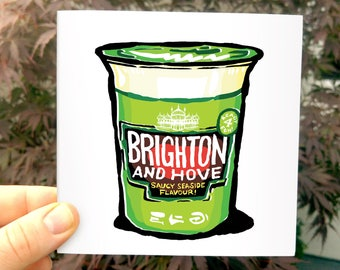 Brighton & Hove Pot Noodle - Blank Greetings Card - the classic instant noodle pack with a humorous Brighton twist. Kitchen inspired fun!