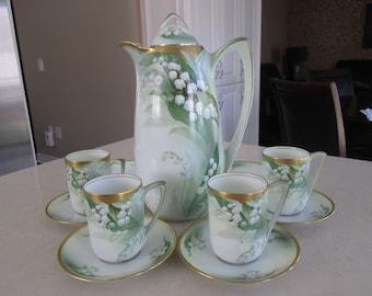 Vintage RS Germany Chocolate Set Teapot Teacup And Saucer Set