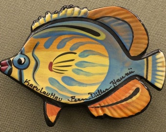 "Ben Diller ceramic fish ""KapuLauHau"" wall plaque/plate  Hawaii"