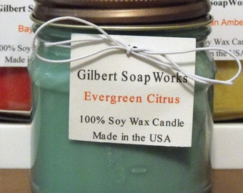 Soy Evergreen Citrus Candle // hand poured // all natural // gifts for her // wedding gifts // scented //home sweet home //organic