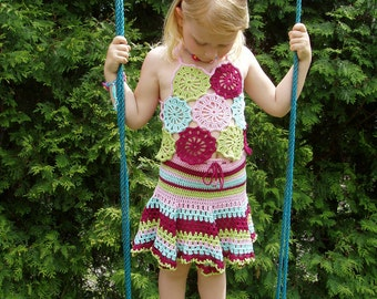 Adorable crochet 2pc SET - TOP and SKIRT 4-5years 104-110