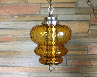 Vintage Amber glass swag light mid century globe hanging fixture retro decor modern glass funky salvaged home lighting light gold diffuser