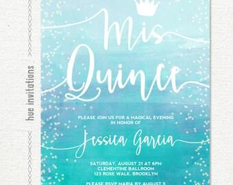 quinceañera invitation, blue teal ombre watercolor crown sweet 15th birthday mis quince invitation, printable digital  file