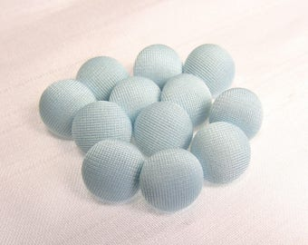 """Sky Blue: 1/2"""" (13mm) Fabric-Covered Pad Shank Buttons - Set of 12 New / Unused Matching Buttons"""