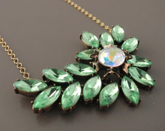 Statement Necklace - Vintage Necklace - Rhinestone Necklace - Peridot Green Necklace - Flower Necklace - Upcycle Necklace - handmade