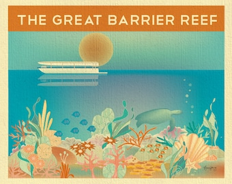 The Great Barrier Reef poster, Great Barrier Reef australian print, great barrier reef print,  barrier reef canvas art print E8-O-GR-BAR