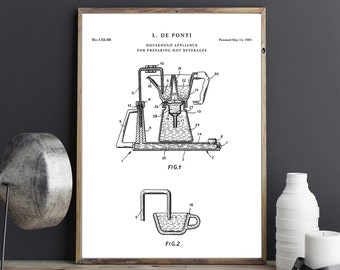 Bialetti Moka Pot Patent Poster | Moka Express Blueprint | Coffee  | Kitchen Wall Decor | Coffee Art | Espresso Cafe| P758