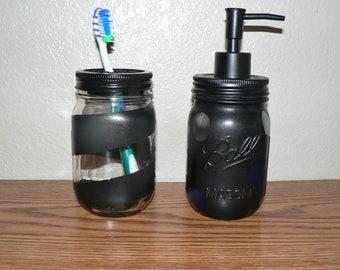 Mason Jar Bathroom Set, Black, Soap Dispenser and Toothbrush Holder, Hand Painted