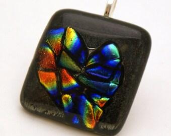 Rainbow Dichroic Fused Glass - Unorthodox Heart Necklace
