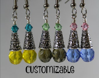 Earrings / Customizable Bridesmaids Gifts / 14 Main Colors / 20 Accent Colors / Czech Glass and Swarovski Crystal / Bridesmaid Gifts