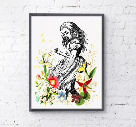 Alice in wonderland wall decor - Alice dancing with wild flowers, nursery art.poster print giclee print art ALW001WA4