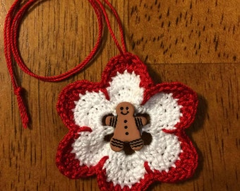 White & Red Crocheted Ornament with Gingerbread Man