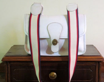 Etsy BDay Sale Coach Suspender Bag White Leather With Red White And Blue Suspender Strap Metal Coach Tag - VGC