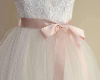Blush Pink Double faced Satin Ribbon Wedding Dress or Bridesmaid Sash Belt