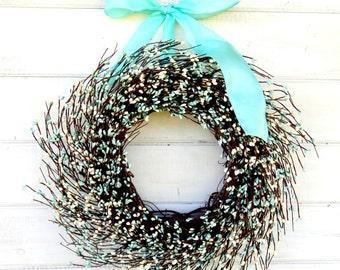 Spring Wreath-Spring Home Decor-Wedding Wreath-Wedding Decor-TEAL & WHITE Wreath-Teal Wedding-Shabby Chic Wedding Decor-Gift for Mom-