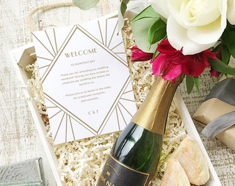Wedding Welcome Note, Printable Wedding Welcome Bag Letter, Thank You, Gatsby, Itinerary, Agenda, Hotel Card - INSTANT DOWNLOAD