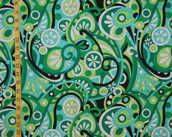 Novelty mod fabric Michael Miller fabric swirl fabric by the yard Green Turquoise Swirl abstract fabric stylized floral modern quilt fabric