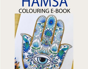 EBOOK - 16 Hamsa Designs - Adult colouring Pages hand drawn by MauindiArts