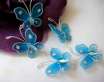 Turquoise Nylon Butterfly with Rhinestone Embellishments for Wedding, Sweet 16, Baby Shower, Table Scatters, 1 inch, 12, 18, 30 pieces