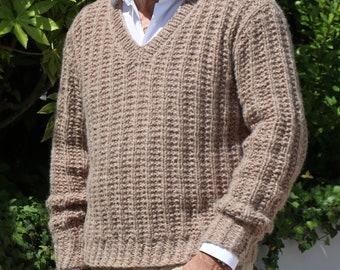 Tan beige man - man sweater sweater Alpaca & cashmere - V-neck - hand knitted