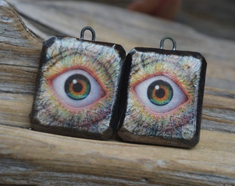 Insanity! -  Handmade Porcelain Picture Bead Pair