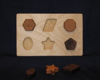 Original Shape Puzzle #5, wooden, easy for little hands to grip and learn