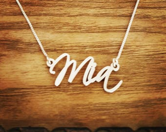 Mia Style Name Necklace and Chain/Oder Any Name/Sterling Silver Name Necklace/Mia/Personalized Jewelry/Hand Made/Christmas /Holiday Gift