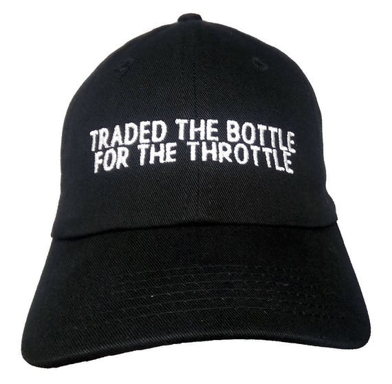 Traded the Bottle for the Throttle  (Youth Dad Cap Polo Style Ball Cap - Black with White Stitching)