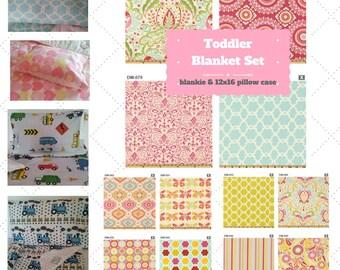 Toddler Blanket Set - Kumari Garden, Custom Bedding, Pillow Case / Sham, Tropical, Shabby Chic, Trendy Moroccan Kids Cotton & Minky Blanket