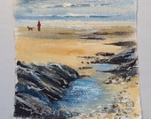 Cornish coastal art, acry...