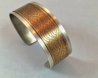 Sterling Silver and Etched Brass Cuff
