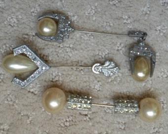 Vintage 20s Antique Victorian Art Deco Jabot Brooch Pin Lot Pot Metal Cravat Pin Tie Pin Ascot Pin Rhinestone Jabot Stick Pin FREE Shipping